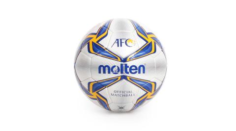 MOLTEN 頂級合成皮足球-5號球 訓練 足球 藍黃白銀@F5V5003-A@
