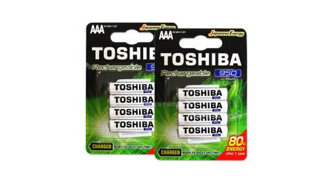 TOSHIBA東芝4號低自放電鎳氫充電電池 950mAh(8顆入)送電池盒