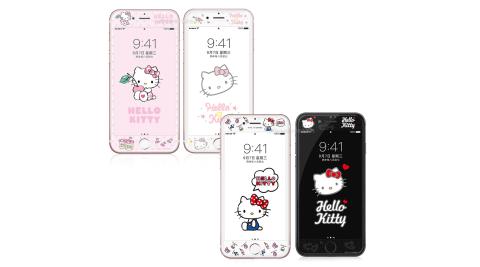 Hello Kitty貓 iPhone 8/7 4.7吋 軟邊彩繪滿版鋼化玻璃貼