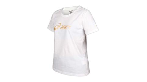 ASICS 女短袖T恤-台灣製 純棉 運動上衣 亞瑟士 白香檳金@K12006-01@