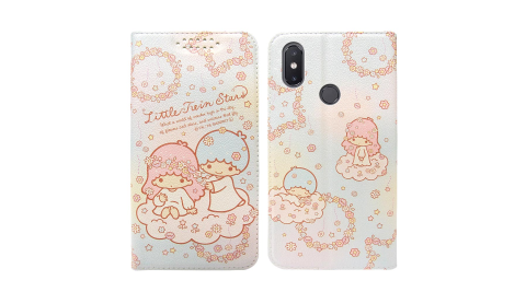 三麗鷗授權Kikilala 雙子星 小米8 粉嫩系列彩繪磁力皮套(花圈)