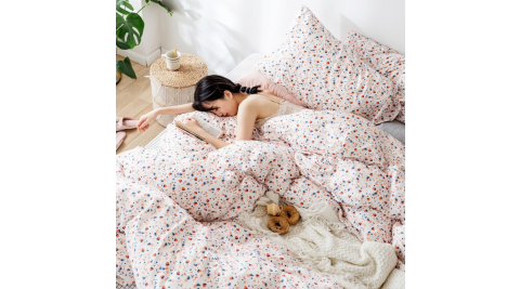 【KOKOMO'S扣扣馬】MIT天然精梳棉200織紗雙人床包3件組-粉點醉愛