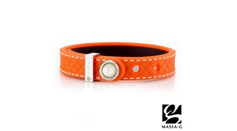 MASSA-G ONLY U唯你天然石鍺鈦手環-品牌菱格紋(橘)
