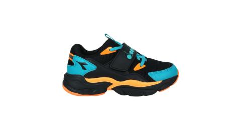 DIADORA 男中童運動鞋-超寬楦-慢跑 休閒 魔鬼氈 黑橘藍@DA11023@