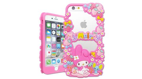 三麗鷗SANRIO正版授權 My Melody 美樂蒂 iPhone 7 / 6s / 6 4.7吋 花漾鏤空軟膠套(花)