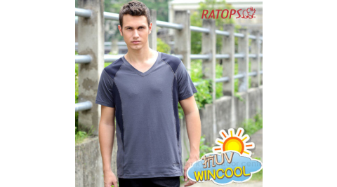 【瑞多仕 RATOPS】WINCOOL 男款 輕量透氣彈性涼感衣.短袖V領T恤.運動休閒衫.排汗衣 /DB8531 鐵灰色