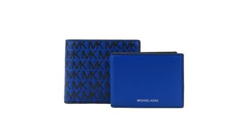 MICHAEL KORS HARRISON浮雕皮革滿版對開短夾-藍