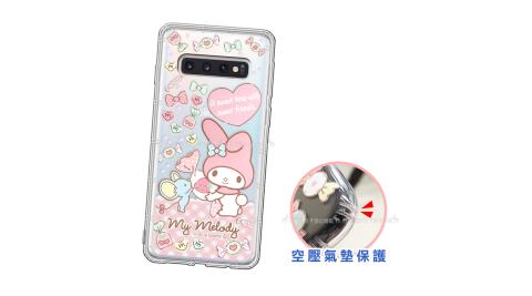 三麗鷗授權 My Melody美樂蒂 三星 Samsung Galaxy S10+/S10 Plus 愛心空壓手機殼(草莓) 有吊飾孔
