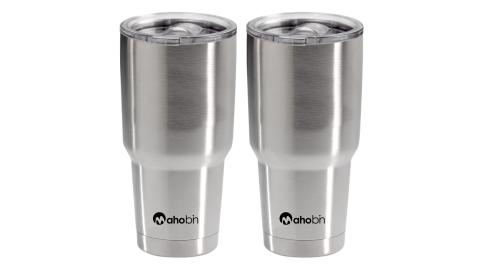 買一送一Mahobin魔法瓶304不鏽鋼雙層真空加蓋啤酒杯保溫杯保冰杯800cc