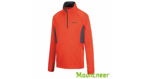 【Mountneer 山林】男透氣排汗長袖上衣 粉橘 吸濕排汗 長袖防曬衣 開襟 21P37