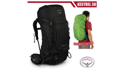 【美國 OSPREY】新款 Kestrel 38L 輕量健行登山背包(3D立體網背/附原廠防水背包套)_黑 R