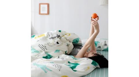 【KOKOMO'S扣扣馬】MIT天然精梳棉200織紗雙人被套加大床包四件組-懶洋洋獅子