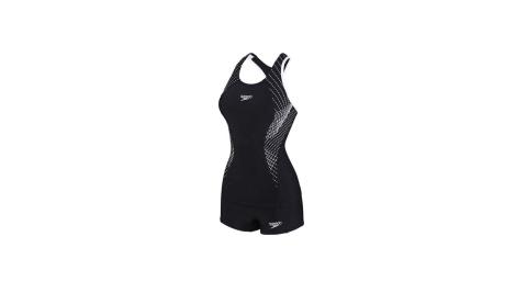 SPEEDO FIT 女運動兩截式平口泳裝-兩件式 游泳 泳衣 黑白@SD8117823503@