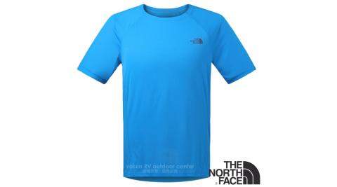 【美國 The North Face】男新款 FlashDry 閃電快乾短袖快排衫.機能性吸濕排汗衣.運動T恤/2TZC 水藍 N