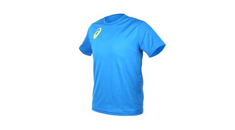 ASICS 男女限量運動排汗LOGO短袖T恤-慢跑 路跑 亞瑟士 寶藍黃@K11613-43@