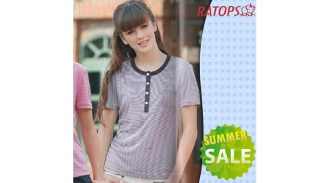 【瑞多仕-RATOPS】女款 Coolmax FX 細條紋短袖圓領T恤.排汗衫.休閒衫..排汗衣 / DB7675 巧克力色