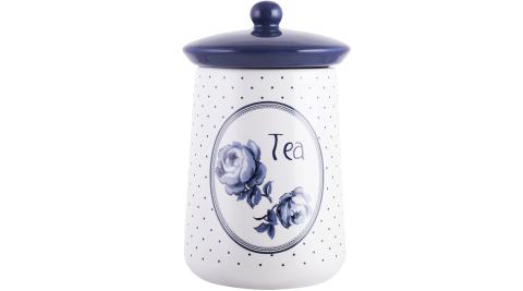《CreativeTops》Katie復古藍茶葉陶製密封罐(圓點白)