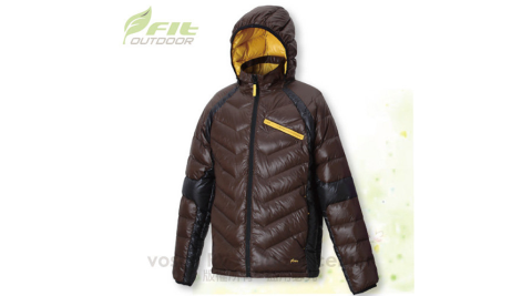 【FIT】男新款超輕量羽絨外套 / 防撥水.保暖防風.質輕 / 機能性多口袋設計 / 褐色 EW1306