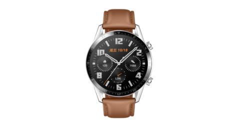 【贈收納包+手機支架等5好禮】HUAWEI Watch GT2 時尚版 46mm (砂礫棕) 盒內再附贈錶帶