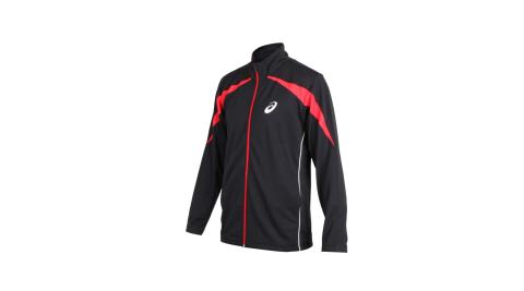 ASICS 男針織運動外套-立領外套 慢跑 路跑 亞瑟士 黑紅白@K11905-90@