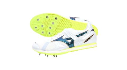 MIZUNO FIELD GEO AJ 特定男女田徑釘鞋-日本製 跳遠 螢光黃白@U1GA154136@