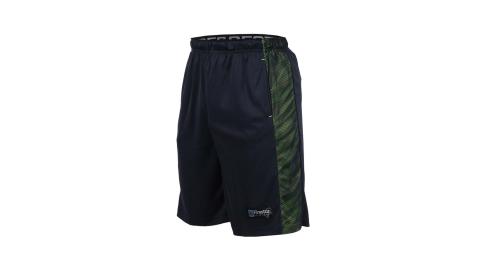 FIRESTAR 男籃球褲-慢跑 路跑 深藍螢光綠@B7603-93@