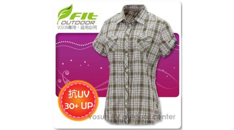 【FIT】女新款 格紋吸排抗UV短袖襯衫/立領.透氣.吸濕.輕量.涼爽.時尚休閒款/ FS2203 灰卡其