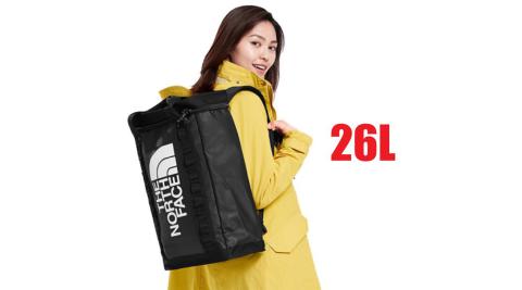 【美國 The North Face】新款 大Logo 26L多功能日用減壓雙肩背包/書包(900D防水布料)/3KYF 黑 N