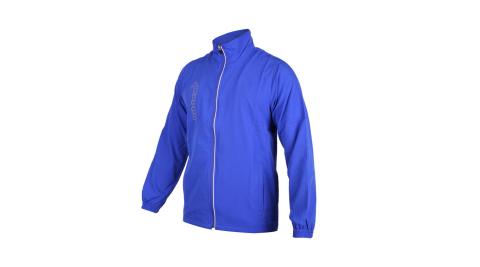 KAPPA 男單層外套-立領外套 防潑水 抗UV 防風 風衣 運動 慢跑 路跑 藍灰@3117ZZW-741@