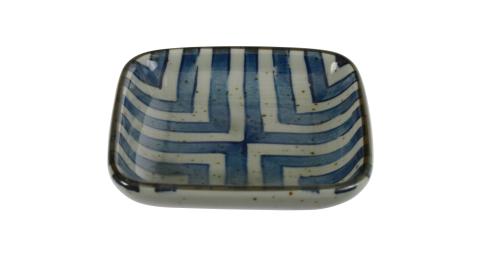 《Tokyo Design》方形瓷製醬料碟(復古藍線)