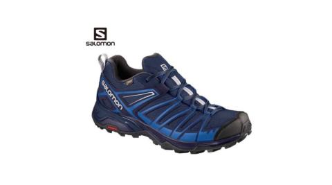 【SALOMON 索羅門】男鞋 X ULTRA 3 PEIME GTX 低筒登山鞋 籃/合金灰 2018 新款 L40128000