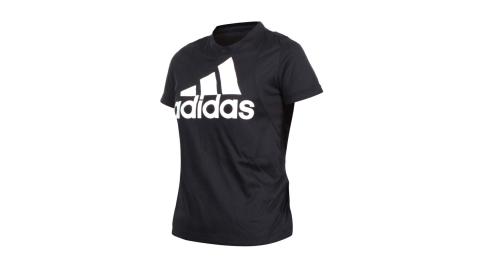 ADIDAS 女短袖圓領T恤-亞規 休閒上衣 慢跑 路跑 愛迪達 黑白@FT3078@
