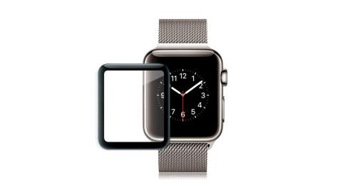 GLA Apple Watch Series 3/2/1 42mm 全膠曲面滿版疏水玻璃貼 3代通用(黑) 玻璃膜