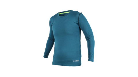 FIRESTAR 男機能緊身長袖上衣-長T T恤 訓練 慢跑 路跑 藍灰@N7908-98@