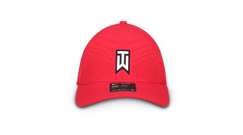 NIKE GOLF 運動帽-高爾夫球 TIGER WOODS 帽子 防曬 遮陽 鴨舌帽 紅白黑@BV1072-687@