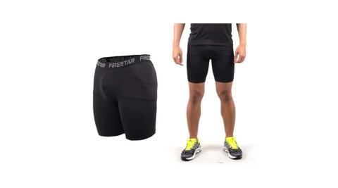 FIRESTAR 男機能緊身短褲-慢跑 路跑 運動短褲  黑@N3802-10@
