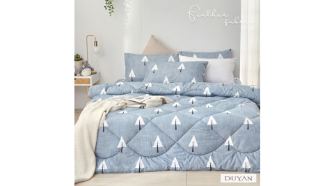 《DUYAN 竹漾》舒柔棉雙人四件式床包羽絲絨被組-白樺秘境
