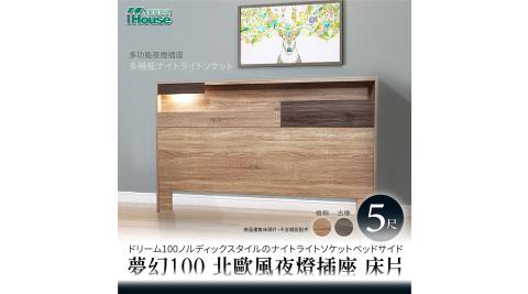 IHouse-夢幻100 北歐風夜燈插座 床片-雙人5尺
