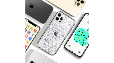 MOOTUN for iPhone 12 / 12 Pro 6.1 防護晶透保護殼 -滿版線條貓藍