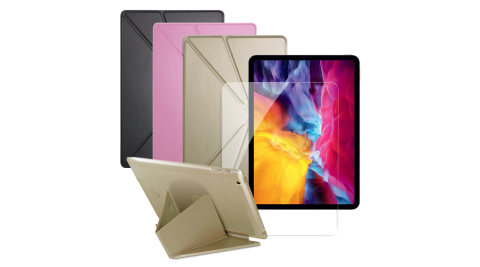 CityBoss for iPad Pro 11吋 2020 浪漫晶彩可立皮套+專用版9H鋼化玻璃保護貼