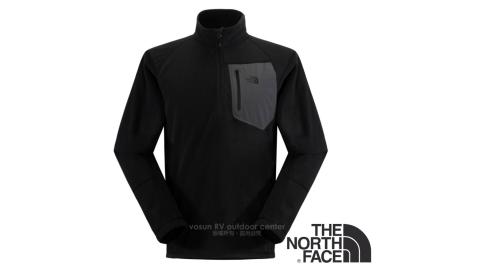 【美國 The North Face】男款 吸排快乾透氣半開襟彈性保暖刷毛衣/休閒立領衫/CGM2 黑