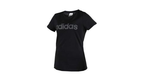 ADIDAS 女圓領短袖T恤-慢跑 路跑 愛迪達 黑灰@DS8724@