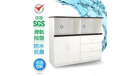 IHouse-SGS 防潮抗蟲蛀緩衝塑鋼二門三抽二拖置物電器櫃(寬128.5深43高112CM)