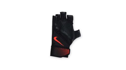 NIKE 男用加重訓練手套-重量訓練 健身 半指手套 黑橘@NLGB4053MD@