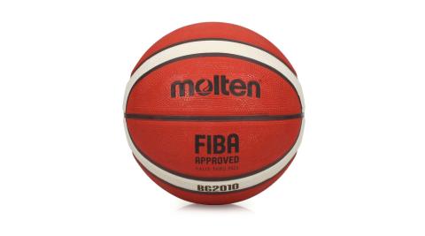 MOLTEN 12片橡膠深溝籃球#6-訓練 6號球 戶外 室外 橘米白@B6G2010@