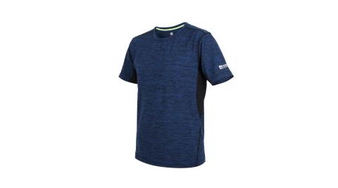 FIRESTAR 男彈性短袖圓領T恤-慢跑 路跑 麻花深藍黑@D9230-93@