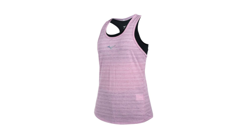 MIZUNO 女兩件式瑜珈背心-台灣製 運動內衣 BRA 上衣 反光 美津濃 藕紫銀黑@K2TA120466@