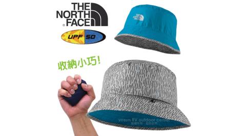 【美國 The North Face】新款 SUN STASH 抗UV遮陽雙面漁夫帽.舒適透氣快乾遮陽帽/CGZ0 黑白紋/天藍 N