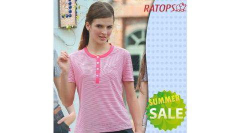 【瑞多仕-RATOPS】女款 Coolmax FX 細條紋短袖圓領T恤.排汗衫.休閒衫..排汗衣 / DB7674 櫻紅