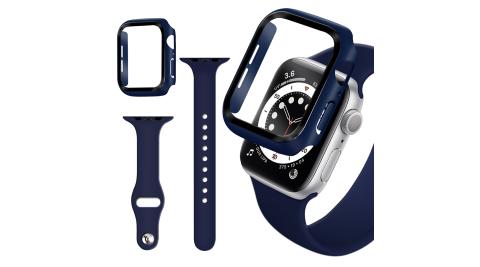 For Apple Watch Series SE/6/5/4 (44mm) 全包覆9H鋼化玻璃貼+錶殼+矽膠錶帶-夜藍